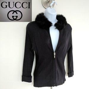 GUCCI! Black cashmere & fur collar zip sweater